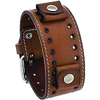 Nemesis #STH-B Brown Wide Leather Cuff Wrist Watch Band