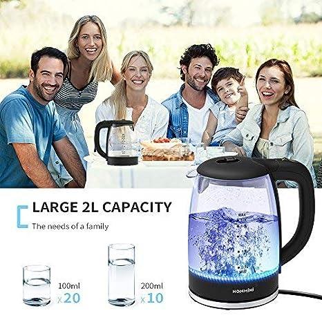 Hervidor de Cristal, HOMMINI 2 L Hervidores de Agua Electrico con Iluminación LED Interior, 2200W de potencia, libre de BPA y sistema de protección contra ...