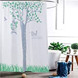 Der Thickening Opaque Waterproof Mildew Polyester Bathroom Shower Curtain Increase Lead Metal Ball Ring Lead Bathroom Accessories (Color : D, Size : 150cm200cm)