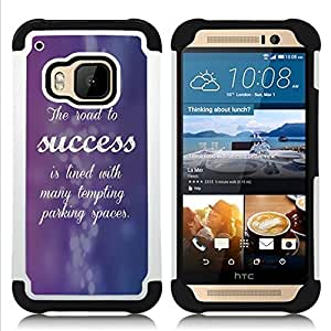 BullDog Case - FOR/HTC ONE M9 / - / PURPLE SUCCESS INSPIRING QUOTE CURSIVE /- H??brido Heavy Duty caja del tel??fono protector din??mico - silicona suave