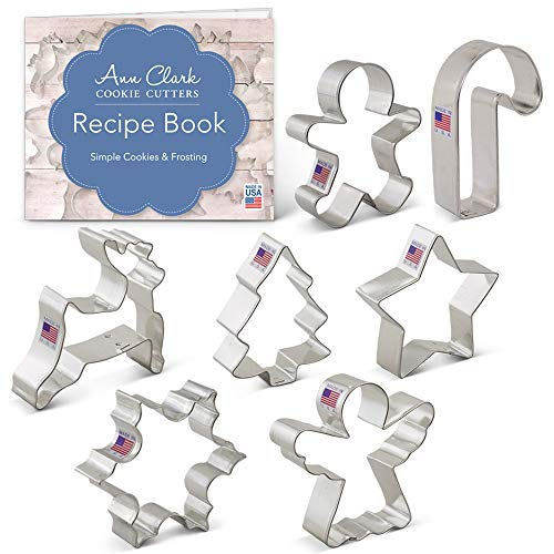 Christmas Cookie Cutter Set with Recipe Book - 7 Piece - Snowflake, Star, Christmas Tree, Gingerbread Man, Angel, Leaping Reindeer and Candy Cane - Ann Clark - USA Made Steel