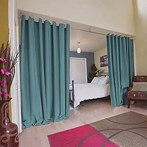 Turquoize Room Divider Grommet Top Curtain Panel Patio Door Curtain Citadel Gray