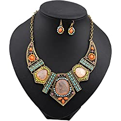 Sinfu Necklace For Women Chain Vintage Flower Crystal Bubble Pendant Jewelry