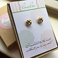 Gold Knot Earrings Gold Plated Stud Earrings Post Jewelry Bridesmaid Card