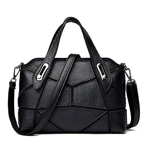 DHFUD Bolso De Hombro De Las Mujeres Bolso De Mensajero Costura De Moda Black