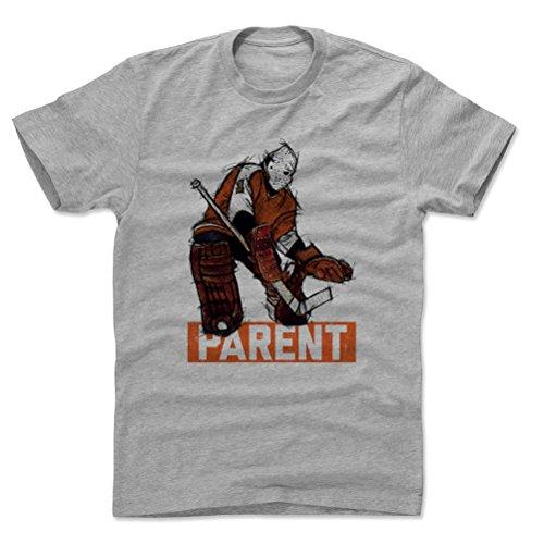 500 LEVEL Bernie Parent Cotton Shirt (X-Large, Heather Gray) - Philadelphia Flyers Men's Apparel - Bernie Parent Sketch 1 O