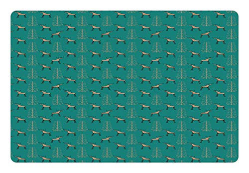 - Lunarable Teal and Tan Pet Mat for Food and Water, Christmas Theme Moose and Curly Motifs New Year s Eve Holiday Winter, Rectangle Non-Slip Rubber Mat for Dogs and Cats, Teal Tan and Black