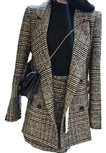 アノイ結紮インチmaweisong 女性プレードダブルブレストオフィスブレザージャケットスカート2ピーススーツセット