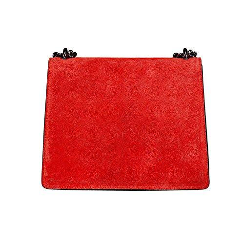 cuir accessoire en nickel et chaîne à Baguette suède lisse Sac RACHEL foncé à Mini MYITALIANBAG Pochette fermeture sac Rouge main avec bandoulière Zfavp