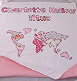 Personalized Map of the World baby blanket.