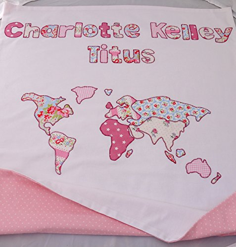 Personalized Map of the World baby blanket. by Sarah Anns