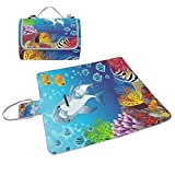 ALIREA Dolphins Of Marine Background Picnic Blanket Tote Handy Mat Mildew Resistant and Waterproof Camping Mat for Picnics, Beaches, Hiking, Travel, RVing and Outings
