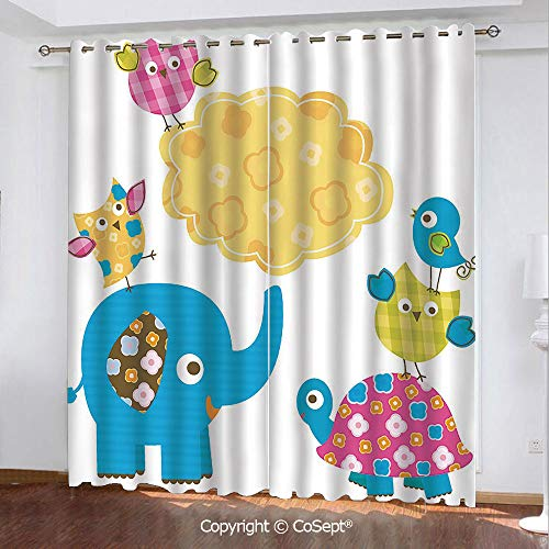Blackout Curtains,Diverse Cartoon Happy Animals Tortoise Elephant Lovely Yellow Cloud Drawing Style Decorative,for Bedroom and Living Room,51.96x62.99 Inch Length,2 Drape Panels,Multicolor
