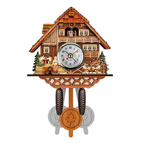Cherry-Lee Cuckoo Wall Clock, Wood Clock Innovative Wooden European Style Living Room Vintage DIY Clock for Living Room, Kitchen, Office & Home Décor Without Battery