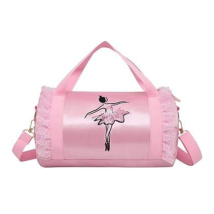 Fanmuran Bolso de ballet rosa para niñas pequeñas Bolso de danza bordado de cintas lindas para ...