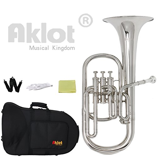 AKLOT Intermediate Eb Nickel Alto Horn Silver Plated Mouthpiece Stainless Steel Piston with Case for Musical Education by AKLOT