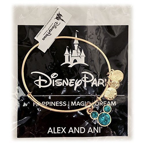 Disney Parks Alex and Ani Mickey Mouse Swarovski Crystal TURQUOISE Birthstone Bangle Bracelet - Jewelry (Gold, December)