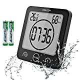 BaLDR Digital Shower Clock/Timer Waterproof for Water Spray for Bathroom Shower Kitchen Touch Screen Timer with Alarm Displays Temperature Humidity Wall Mounted, Suction Cup, Stander (Black)