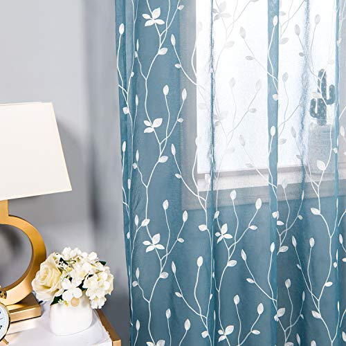 (AmHoo Floral Leaf Embroidery Semi Sheer Curtain Rod Pocket Voile Sheer Curtains Set of 2 for Living Bedroom Window Treatment (Blue, 53 x 95 Inch))