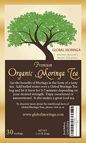 Global Moringa Tea - Original Organic Moringa Tea (30 Tea Bags)
