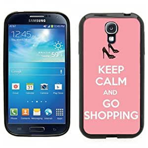 Samsung Galaxy S4 SIIII Black Rubber Silicone Case - Keep Calm and Go Shopping Pink Cute