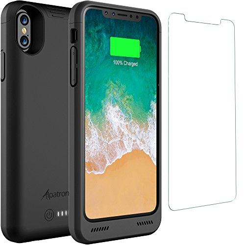 iPhone X Battery Case Qi Wireless Charging Compatible, Alpatronix BXX 5.8-inch 4200mAh Slim Rechargeable Extended Protective Portable Charger Case for iPhone X [Apple Certified Chip; iOS 11+] – Black by Alpatronix