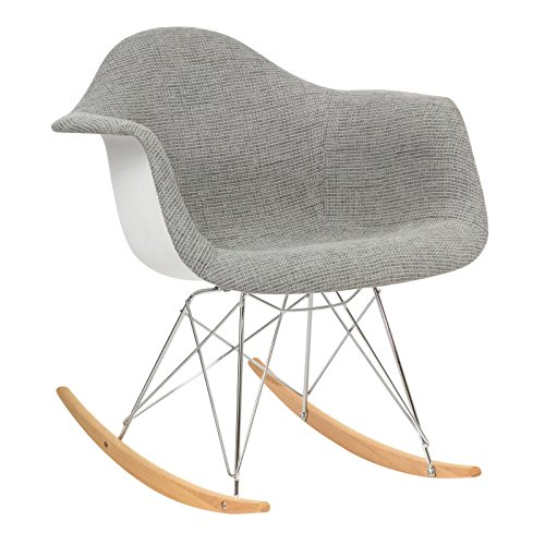 LeisureMod Wilson Twill Fabric Eiffel Rocking Chair in Grey by LeisureMod