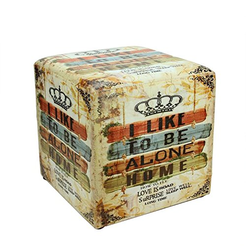 Northlight 14.5'' Decorative I Like to Be Alone Home Multicolored Square Ottoman Pouf by Northlight