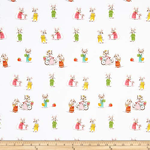 Heather Ross Country/City Mouse White Fabric by The Yard