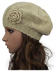 Women Crochet Braided Knit Flower Beret Baggy Beanie Ski Cap Hat
