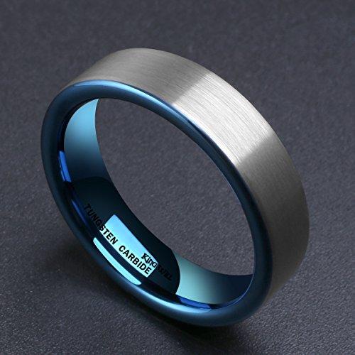 King Will DUO Women Men 6mm Flat Blue Tungsten Carbide Ring Matte Brushed Wedding Band Comfort Fit(6.5)