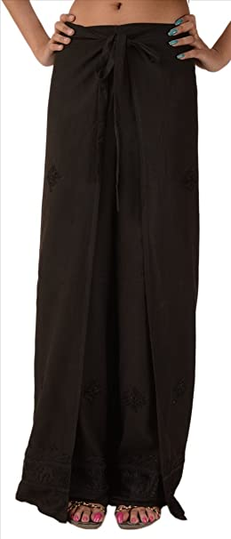 253cdbdea8 Skirts & Scarves SNS Women's Embroidered Rayon Wrap/Palazzo Pant Black