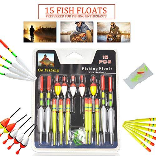 LISRUI 15 Piezas//Juego Corchos De Pesca Bobbers De Pesca Flotadores De Pesca Accesorios De Pesca Duraderos del Flotador De Los Pescados