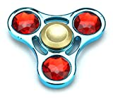 Full Metal Triple Jewels Toy Fidget Spinner, Great for Anxiety, Focusing, ADHD, Autism, Quitting Bad Habits, Staying Awake (Blue)