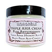 AHA FACE CREAM Refining Face Cream with Glycolic Acid, Latic Acid, Citric Acid, Malic & Tartaric Acids Plus Antioxidants Improves Tone, Texture, Clarity, Lines & Wrinkles Facial Moisturizer Glass Jar