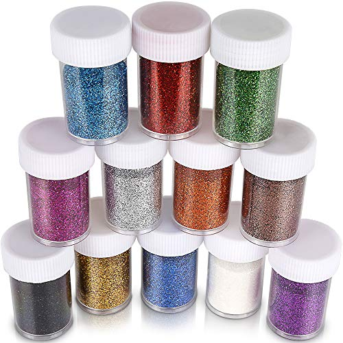 Glitter for Slime, Teenitor Extra fine Glitter Shakers in Shaker Jars, Great for Slime, Art and Crafts, Nail Art Polish, Scrapbooking, Paints, Assorted Color Kit, 15g Each, Set of -