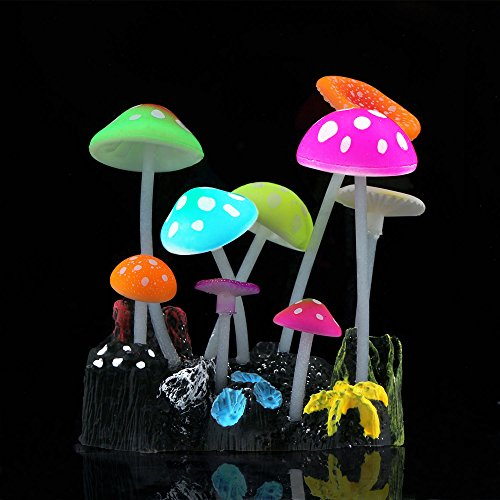 SLOME Aquarium Glowing Mushroom Decorations - Fish Tank Decoration Silicone Ornament, Eco-Friendly for Freshwater Saltwater Aquarium Betta Fish Environments (Bottom Tank Stand)