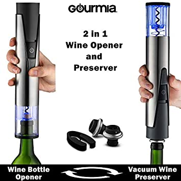 Gourmia 2 in 1 Wine Opener and Preserver set Electric Corkscrew Rechargeable Wine Bottle Opener and Sealer Removes Corks,Vacuum Seals and Preserves Wine Includes Foil Cutter,2 Stoppers,Recharging Base