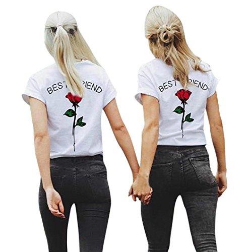 Rose Lettres Shirts T d'ami BZLine imprim Meilleures Femmes 1wCq1xA