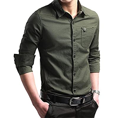 XTAPAN Men's Casual Slim Fit Shirt Cotton Long Sleeve Button Down Dress Shirt