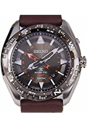 Seiko SUN061 Men's Prospex Kineti Stainless Steel Brown Leather Band Brown Dial Watch