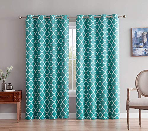 HLC.ME Lattice Print Thermal Insulated Blackout Curtains Drapes - Teal Blue - 52 W x 63 L - Set of 2 Panels