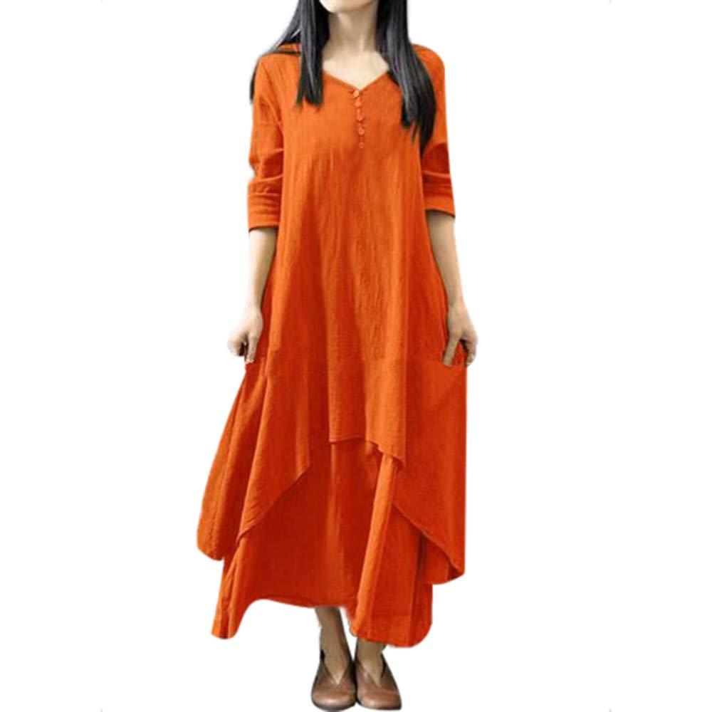 Women's Pockets Casual Swing Loose T-Shirt Dress Orange by Zackate_Dress