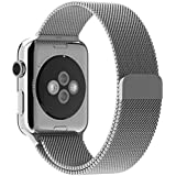 Apple Watch Band, Yearscase Milanese Fully Magnetic Closure Clasp Mesh Loop Stainless Steel iWatch Band Replacement Wrist Bracelet Strap for Apple Watch Sport&Edition 42MM (Silver)