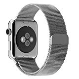 Been5le Milanese Loop Stainless Steel Replacement iWatch Band with Magnetic Closure Clasp for Apple Watch Sport&Edition 38MM-Silver