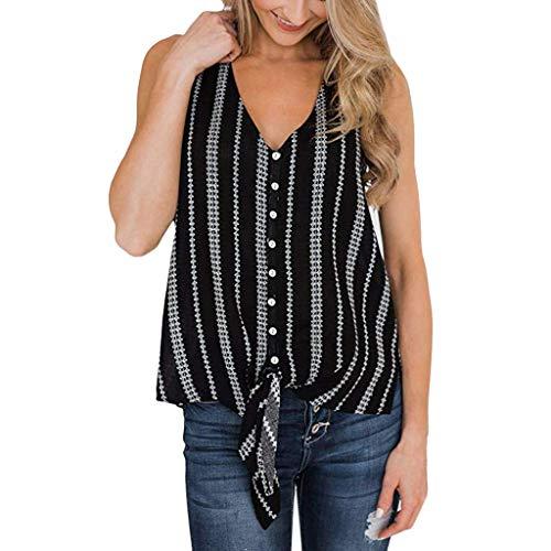 DAYPLAY Women's Fashion V-Neck Button Stripe Vest Top Sleeveless T-Shirt Blouse 2019 Womens Clothes Sale Black