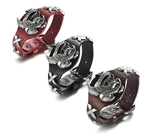 MP 3Pcs Men's Alloy Genuine Wide Leather Eagle Hawks Animal Adjustable Cuff Bracelet Punk Gothic (Hawks Rock Animal)