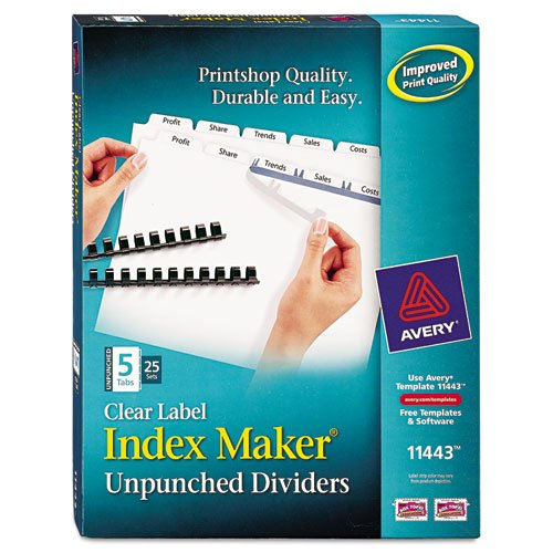 Avery Dennison Index Maker (Wholesale CASE of 5 - Avery Unpunched Index Maker w/ Tabs-Index Maker, Laser, Unpunched, 5-Tab, White, 25-Sets/BX)