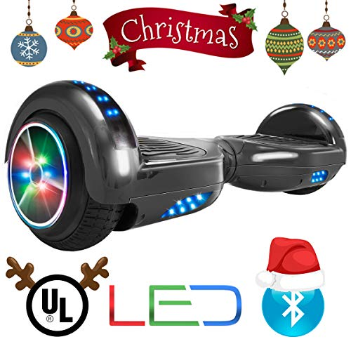 XtremepowerUS Self Balancing Scooter Hoverboard UL2272 Certified, Bluetooth Speaker and LED Light (Black ()
