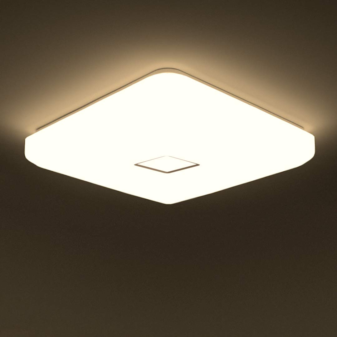 Onforu 24w LED Ceiling Light, 2100 LM IP65 Waterproof Super Bright Flush Square Bathroom Lights, 90+ CRI 5000K Daylight White Wall Mounted Ceiling Lamp for Living Room, Bedroom, Kitchen